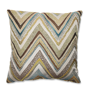 Zig Zag Capri Blue and Yellow 16.5-Inch Square Throw Pillow