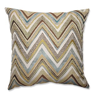 Zig Zag Capri Blue and Yellow 24.5-Inch Square Floor Pillow