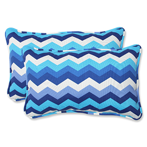 Blue Outdoor Panama Wave Azure Rectangular Throw Pillow, Set of 2