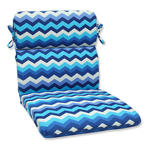 Blue Outdoor Panama Wave Azure Rounded Corners Chair Cushion