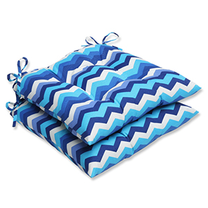 Blue Outdoor Panama Wave Azure Wrought Iron Seat Cushion, Set of 2