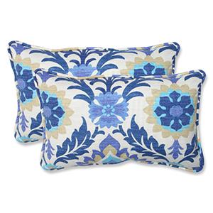 Blue Outdoor Santa Maria Azure Rectangular Throw Pillow, Set of 2