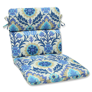 Blue Outdoor Santa Maria Azure Rounded Corners Chair Cushion