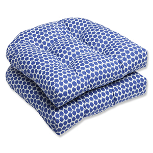 Blue Outdoor Seeing Spots Navy Wicker Seat Cushion, Set of 2