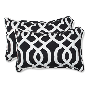 Black and White Outdoor New Geo Black and White Rectangular Throw Pillow, Set of 2