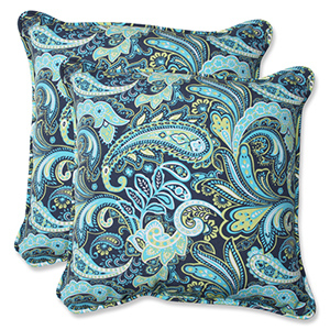 Blue and Green Outdoor Pretty Paisley Navy 18.5-inch Throw Pillow, Set of 2