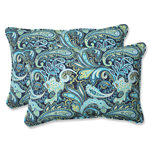 Blue and Green Outdoor Pretty Paisley Navy Over-sized Rectangular Throw Pillow, Set of 2