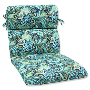 Blue and Green Outdoor Pretty Paisley Navy Rounded Corners Chair Cushion