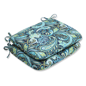 Blue and Green Outdoor Pretty Paisley Navy Rounded Corners Seat Cushion, Set of 2