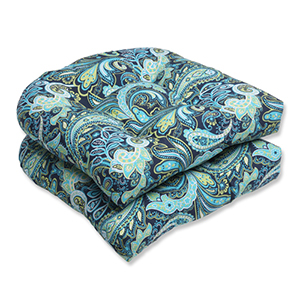 Blue and Green Outdoor Pretty Paisley Navy Wicker Seat Cushion, Set of 2