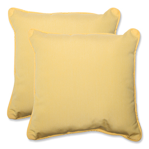 Canvas Yellow Square 18.5-Inch Throw Pillow Sunbrella Fabric, Set of 2