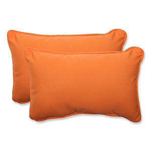 Canvas Tangerine Orange Rectangular Throw Pillow Sunbrella Fabric, Set of 2