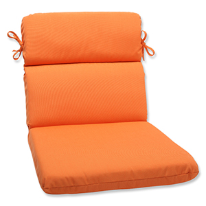 Canvas Tangerine Orange Rounded Corner Chair Cushion with Sunbrella Fabric