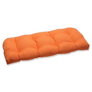 Canvas Orange Wicker Loveseat Cushion with Sunbrella Fabric