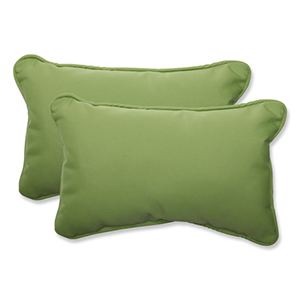 Canvas Green Rectangular Throw Pillow Sunbrella Fabric, Set of 2