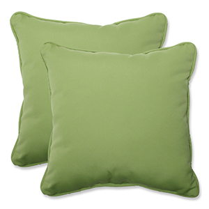 Canvas Green Square 18.5-Inch Throw Pillow Sunbrella Fabric, Set of 2