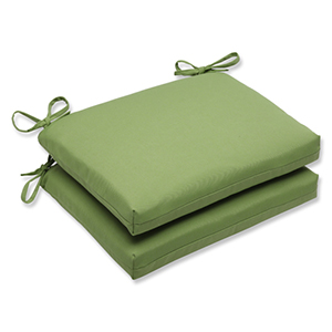 Canvas Green Squared Corner Seat Cushion with Sunbrella Fabric, Set of 2
