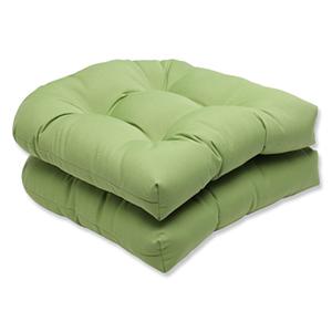 Canvas Green Wicker Seat Cushion with Sunbrella Fabric, Set of 2