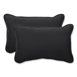 Canvas Black Rectangular Throw Pillow Sunbrella Fabric, Set of 2