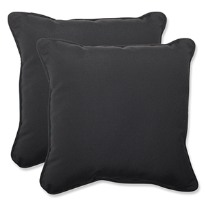 Canvas Black Square 18.5-Inch Throw Pillow Sunbrella Fabric, Set of 2