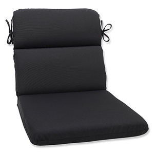 Canvas Black Rounded Corner Chair Cushion with Sunbrella Fabric