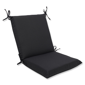 Canvas Black Squared Corner Chair Cushion with Sunbrella Fabric