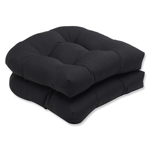 Canvas Black Wicker Seat Cushion with Sunbrella Fabric, Set of 2