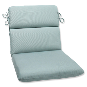 Canvas Blue Rounded Corner Chair Cushion with Sunbrella Fabric