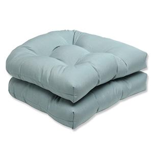 Canvas Blue Wicker Seat Cushion with Sunbrella Fabric, Set of 2