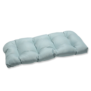 Canvas Blue Wicker Loveseat Cushion with Sunbrella Fabric