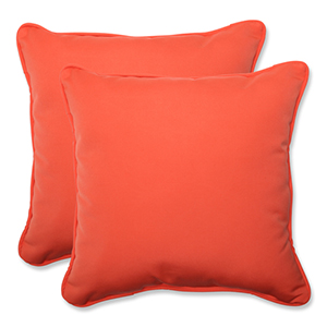 Canvas Orange Square Throw Pillow Sunbrella Fabric, Set of 2