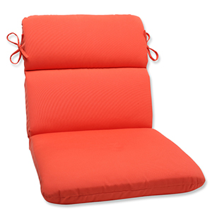 Canvas Orange Rounded Corner Chair Cushion with Sunbrella Fabric
