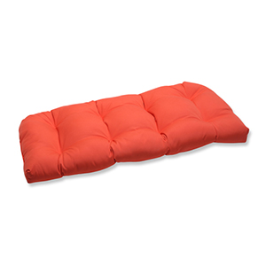 Canvas Tangerine Orange Wicker Loveseat Cushion with Sunbrella Fabric