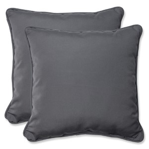 Canvas Charcoal Outdoor 18.5-Inch Throw Pillow with Sunbrella Fabric, Set of Two