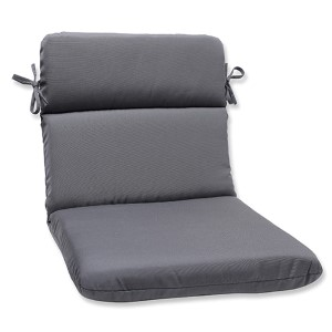 Canvas Charcoal Outdoor Rounded Corners Chair Cushion with Sunbrella Fabric