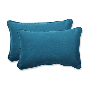 Spectrum Blue Rectangular Throw Pillow with Sunbrella Fabric, Set of 2