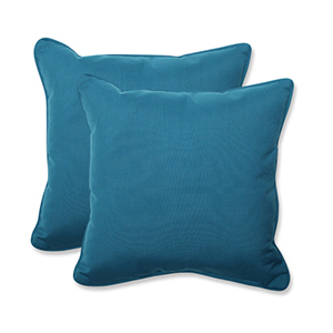Spectrum Blue Square 18.5-Inch Throw Pillow with Sunbrella Fabric, Set of 2