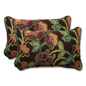 Vagabond Brown and Multicolored Rectangular Throw Pillow with Sunbrella Fabric, Set of 2