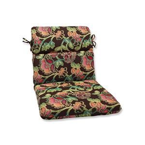 Vagabond Brown and Multicolored Rounded Corner Chair Cushion with Sunbrella Fabric
