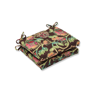 Vagabond Brown and Multicolored Squared Corner Seat Cushion with Sunbrella Fabric, Set of 2