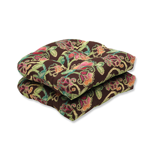 Vagabond Brown and Multicolored Wicker Seat Cushion with Sunbrella Fabric, Set of 2