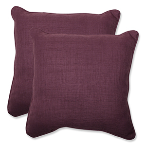 Rave Vineyard Purple Outdoor Square 18.5-Inch Throw Pillow, Set of 2