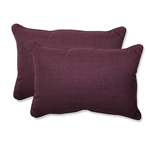Rave Vineyard Purple Outdoor Over-sized Rectangular Throw Pillow, Set of 2