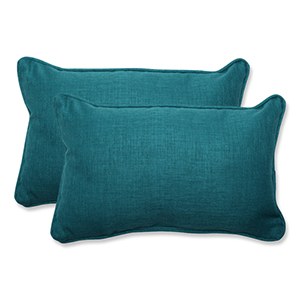 Rave Teal Green Outdoor Rectangular Throw Pillow, Set of 2