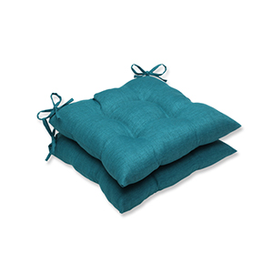 Rave Teal Green Outdoor Wrought Iron Seat Cushion, Set of 2