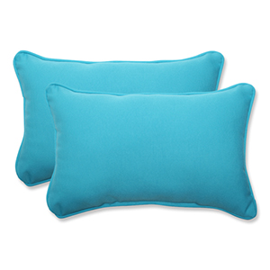 Veranda Blue Outdoor Rectangular Throw Pillow, Set of 2