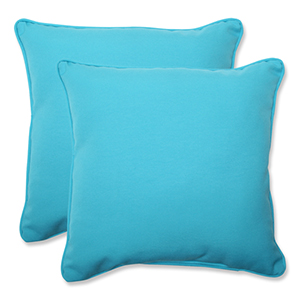 Veranda Blue Outdoor Square 18.5-Inch Throw Pillow, Set of 2