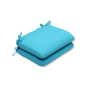 Veranda Blue Outdoor Rounded Corner Seat Cushion, Set of 2