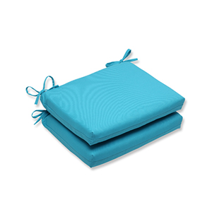 Veranda Blue Outdoor Squared Corner Seat Cushion, Set of 2