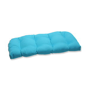 Veranda Blue Outdoor Wicker Loveseat Cushion